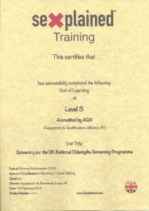 Example of front side of Sexplained Training Certificate, issued per Unit undertaken successfully