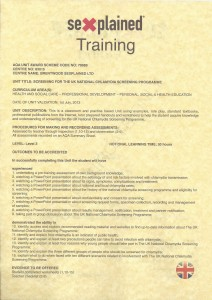 Example of rear side of Sexplained Training Certificate, issued per Unit undertaken successfully